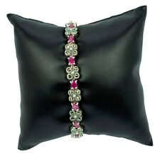 Crowning Glory Vintage Ruby & Marcasite Woman's Bracelet In 925 Sterling Silver