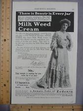 Rare Original VTG 1905 Milk Weed Cream Taroena Vose Pianos Advertising Art Print