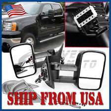 US Pair Power Heated Towing Mirror Black For 07-13 Chevy Silverado GMC Sierra FM