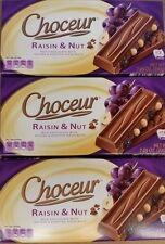 3 X Choceur German Raisin & Nut Chocolate Bars. 3 Pack, 1/2 lb Bars