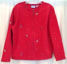 Croft Barrow Christmas Cardigan Sport Red Zip Women S 100% Poly Fleece Stockings