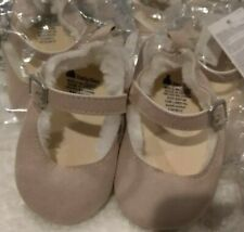 New w tag Gap Baby Girls Size 6-12M Tan / Ivory Faux-Fur Lined Mary Jane Flats