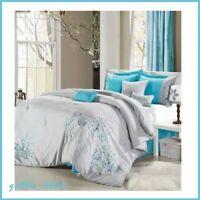 12-Piece Turquoise/Grey Embroidery Comforter Sheet Set Bedskirt Pillows QUEEN
