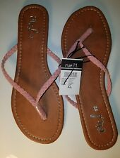 New RUE 21 XL 10 Braided Suede Strap Summer Flat Flip Flops Sandals Shoes
