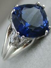 Estate 2.66CTW Diamant Topaze Bleu Londres 14K or Blanc Bague Coktail L1332.5.12