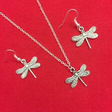 Pretty Dragonfly Silver Charm Earring & Necklace Set. Bird Watchers Gift.