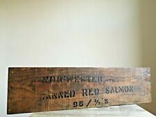 More details for vintage wooden nor'wester - canned red salmon - birmingham market sign waxed