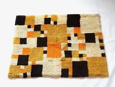COLORFUL VERY RARE ORIGINAL MID CENTURY CUBIST VINTAGE CARPET SHAG RUG 1970