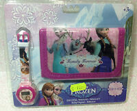 DISNEY FROZEN ELSA E ANNA SET PORTAFOGLIO + OROLOGIO WALLET + DIGITAL WATCH