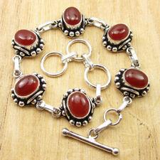 "925 Silver Plated Genuine Carnelian Bracelet 8"" ! Fashion Jewelry ONLINE STORE"