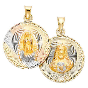 14K Yellow White Solid Gold Sacred Heart Jesus Virgin Mary Double Sided Charm