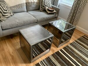 2 Square Mirror End Tables