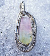 Large Unique Watermelon Tourmaline Sterling Silver hand wire wrapped pendant