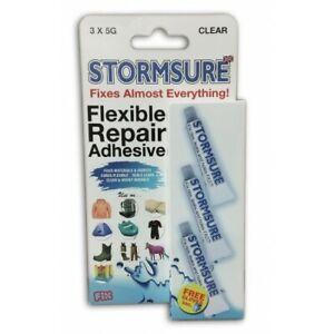 STORMSURE FLEXIBLE REPAIR ADHESIVE CLEAR 3 x 5g Waterproof Universal Glue