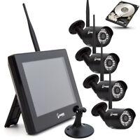 Funk HD Videoüberwachung Überwachungsanlage Überwachungskamera Set 720P Monitor