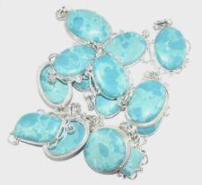 Designer Lot !! 100 PCs. LARIMAR Gemstone 925 Silver Plated Pendant Jewelry