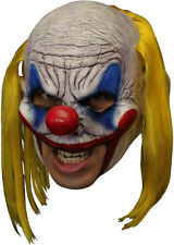 EVIL CLOWN DELUXE CHINLESS HEAD MASK WITH CHINSTRAP LATEX HALLOWEEN MASK