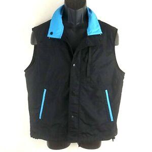 REI Outdoor Black Poly Windbreaker Vest Full Zip Bright Blue Trim Size Small