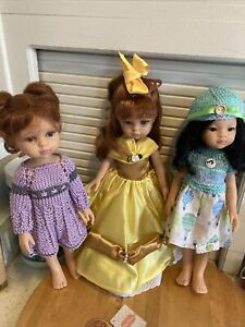 """Lot Of 3 DOLLS 13"""" Paola Reina Dianna Effner OOAK Outfits"""