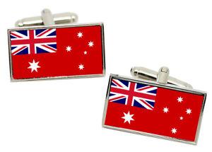 Australian Red Ensign (Merchant Navy) Flag Cufflinks in Chrome Gift Box