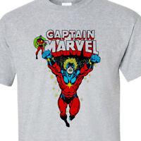 Captain Marvel T shirt vintage comic book superhero 100% cotton graphic tee