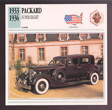 1933-1936 Packard Super Eight (8) Car Photo Spec Sheet Stat Info CARD 1934 1935