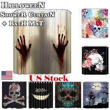 3d shower curtain bath mat memory foam halloween christmas bathroom decor usa