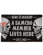 Sons Of Anarchy Door Mat Black Skull SAMCRO One Size