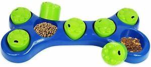 Interactive Fun Treat Hiding Puzzle Toy Food Dispenser Bone Shape Dog Bowl