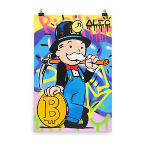 Alec Monopoly Painted Canvas Mr Monopoly Bitcoin Mining Poster Art For Wall