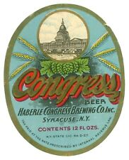 Vintage Irtp Beer Bottle Label Congress Beer by Haberle Congress Co. Syracuse Ny