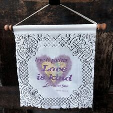 Heritage Lace White Purple Wall Hanging Love is Kind Spiritual Home Decor Usa