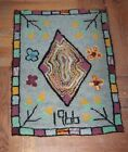 """Hooked Rug, """"1966"""", All Cottons, Small sized. Central Diamond, Border"""