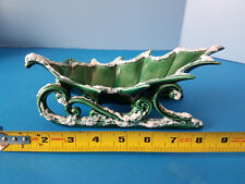Holiday Ceramic Holly Leaf Sleigh Candy Dish Green Runners Snow Frosted Edges