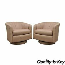 Pair of Vintage Mid Century Modern Dansen Swivel Club Lounge Chair Milo Baughman
