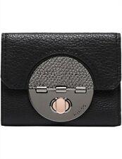 Mimco Turnlock Travel Passport Wallet Black Gunmetal Purse