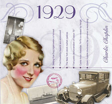 89th BIRTHDAY GIFT - 1929 Classic Retro Pop CD Greetings Card For Men and Women