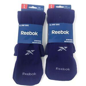 Reebok All Sport Socks Purple Team Socks Size L (8-13) Calf Socks 2-Pack NEW