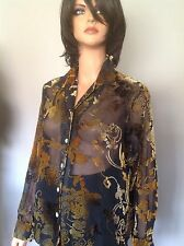 Mirasol Button Down  Blouse Velvet Floral Top Shirt M Designer Fashion Chic Hip