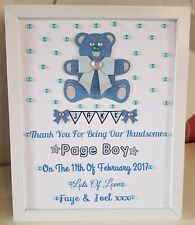 Personalised Framed Teddy Page Boy/Flower Girl Thank You Gift Wedding Favour