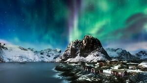 Northern Lights Norway Colourful Landscape Art Large Poster & Canvas Pictures