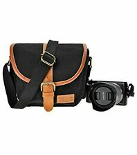 ZLYC Canvas Camera Case Shoulder Bag - Black with Brown Leather Trim - Small