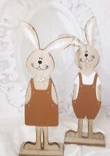 PAREJA DE CONEJOS madera Pátina Decoración Pascua Shabby Vintage Casa Campo 43cm