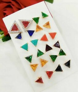 Wholesale Lot 24Pcs Mixed Color Stone Crystal Solid Stud Earrings Gold Plated