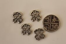 10 Tibetan Silver Quatre (4) Leaf Clover Charms BEAD FINDINGS (3) 11x13mm