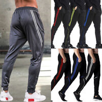 Men SweatPants Sports Pants Zipper Pockets Athletic Training Gym Jogging Trouser