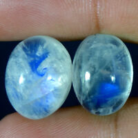 Best Offer 100% Natural Rainbow Moonstone Oval Cabochon Loose Gemstone 2 pcs lot