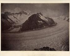 Photo Albuminé Montagne Glacier d'Aletsch Les Alpes Vers 1880