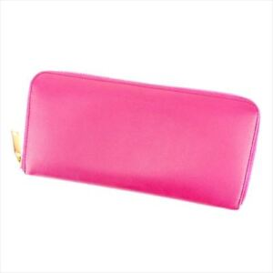 Saint Laurent Wallet Purse Logo Pink Gold leather Woman Authentic Used B963