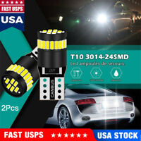 2 X T10 501 194 W5W 24 SMD LED Car CANBUS Error Free Wedge Light Bulb White